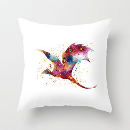 Dragon Art Colorful Watercolor Art Gift Dungeon and Dragons Fantasy Art Kids Gifts Throw Pillow