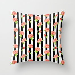 Peonies on stripes - Modern. Floral Throw Pillow