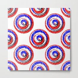 Polka Dot Red White Blue Marble Stacked Tiles Metal Print