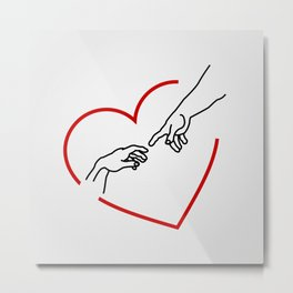 he creation of Adam- The hands of God and Adam within a red heart Metal Print