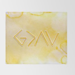 God Is Greater Than The Ups and Downs- YELLOW Throw Blanket
