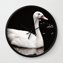 Swan in Black and White Wall Clock