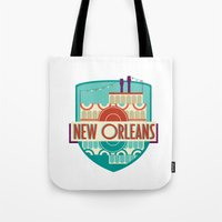 new orleans Tote Bags featuring NEW ORLEANS by Fedi