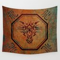Tribal Dragon Head In Octagon With Dragon Chinese Characters by dragonflydistribution