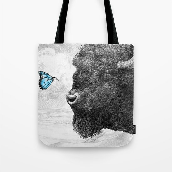 Bison and Butterfly (square format) Tote Bag