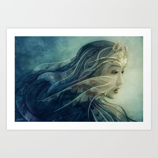 Lionfish mermaid Art Print