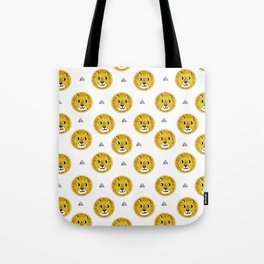 Lion cute pattern nursery kids geometric triangle animal safari Tote Bag