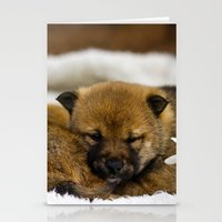shiba inu Stationery Cards featuring Red Shiba Inu Puppy by Blue Lightning Creative