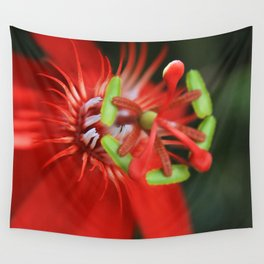 Passiflora vitifolia Scarlet Red Passion Flower Wall Tapestry