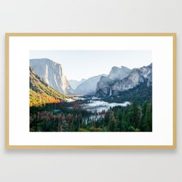 Foggy Valley Sunrise Framed Art Print