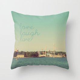 Love Laugh Live Stockholm Throw Pillow