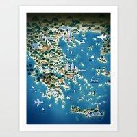 greece Art Prints featuring Greece by Steebz