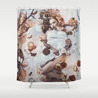 sleeping beauty Shower Curtains featuring Sleeping Beauty by Rose's Creation