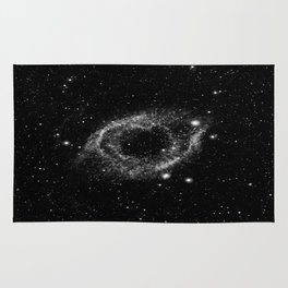Helix Nebula Black and White Rug