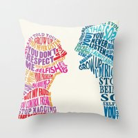 fight Throw Pillows featuring FIGHT by .G&J.