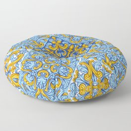 Portuguese Tile Repeating Pattern Floor Pillow