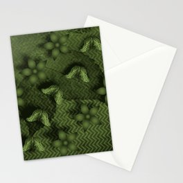Camouflaged butterflies and flowers in green Stationery Cards