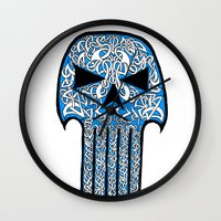 celtic Wall Clocks featuring Celtic Punisher by ronnie mcneil
