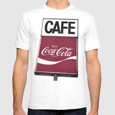 Coca-Cola Cafe MEDIUM White Mens Fitted Tee