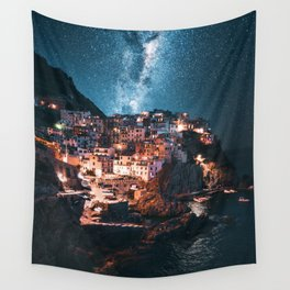 manarola at night Wall Tapestry