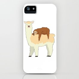 Cute Llama with a Sleeping Sloth Gift iPhone Case
