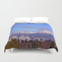 vancouver Duvet Covers featuring Downtown Vancouver Panorama by Lena Photo Art