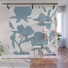 Roses in Blue Wall Mural