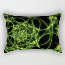 Dancing Green Light, Abstract Fractal Art Rectangular Pillow
