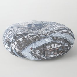 Rooftops - Architecture, Photography Floor Pillow