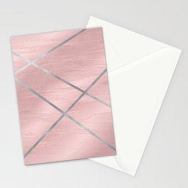 Modern Pink & Silver Line Art Stationery Cards