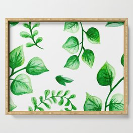 Watercolour Ferns And Vines Leafy Green Continuous Pattern Serving Tray