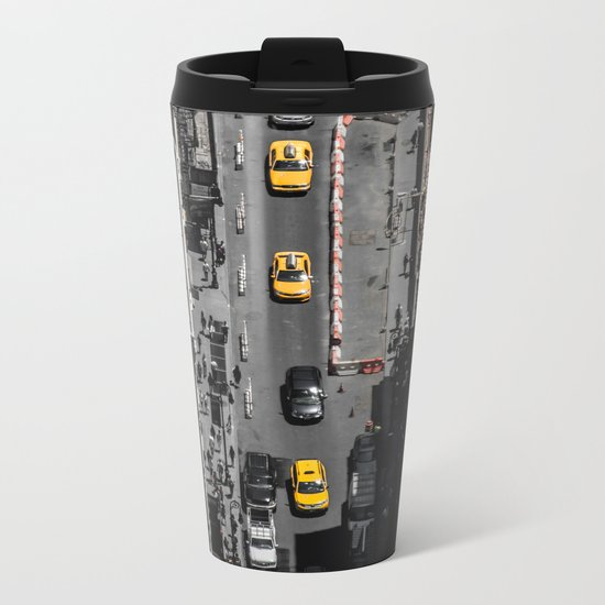 Yellow Cab from Above - Original #society6 exclusive Metal Travel Mug