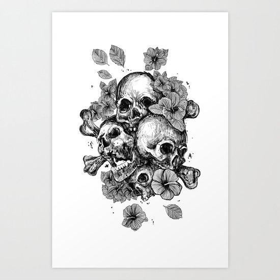 skulls&hibiscus Art Print