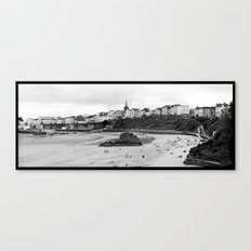 Tenby Harbour.Panoramic.B+W. Canvas Print