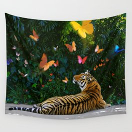 Tiger's Butterfly Friends Wall Tapestry