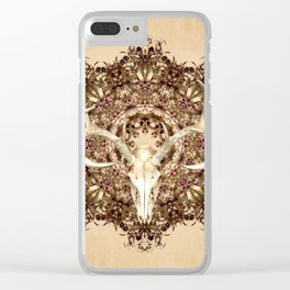 Deer Skull and Belladonna Mandala Clear iPhone Case