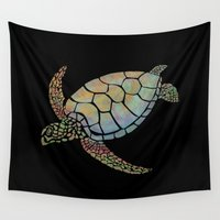 sea turtle Wall Tapestries featuring Sea Turtle by Julie Luke
