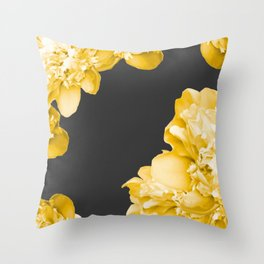 Yellow Flowers On A Dark Background #decor #society #homedecor Throw Pillow