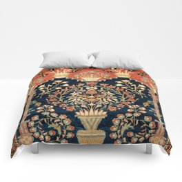 Kashan Poshti  Antique Central Persian Rug Print Comforters