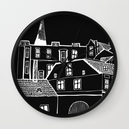 Hand-Drawn Black and White Old Town Inverted design Wall Clock