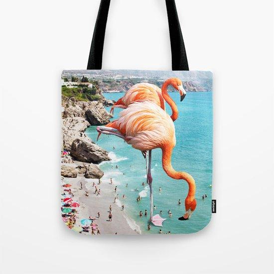 Flamingos on the Beach #society6 #decor #buyart Tote Bag