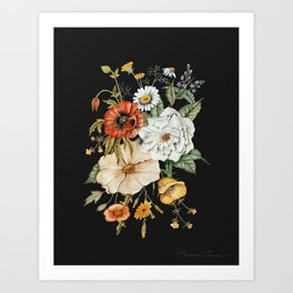 Wildflower Bouquet on Charcoal Art Print