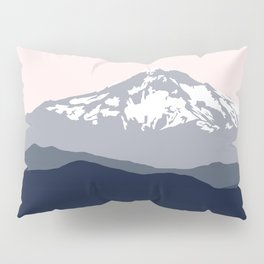 Snow Capped Mountain Landscape - Pink and Grey Pillow Sham
