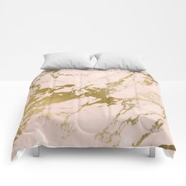 Champagne Blush Marble Comforters