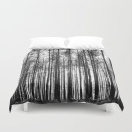 trees in forest landscape - black and white nature photography Duvet Cover