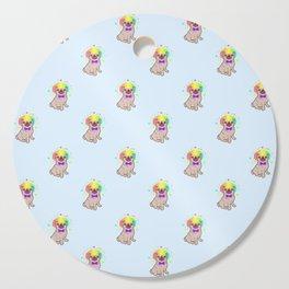 Pug dog in a clown costume pattern Cutting Board