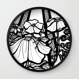 Black and White Flowers In The Sun Wall Clock