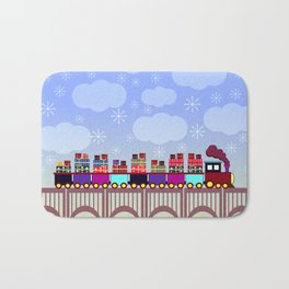 A train with Christmas gifts Bath Mat