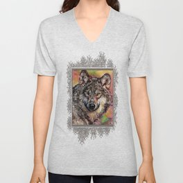 Portrait of a Gray Wolf Unisex V-Neck
