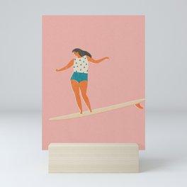 Surf girl print Mini Art Print